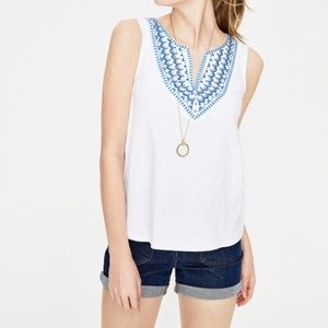 Boden embroidered, notch neck Tank Top